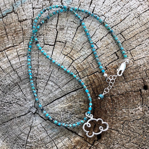 """Pray for Rain"" small cloud pendant necklace with turquoise"