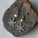 Snowflake charm earrings with Swarovski crystal cube beads.