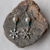 Snowflake earrings with Swarovski pearls and crystals