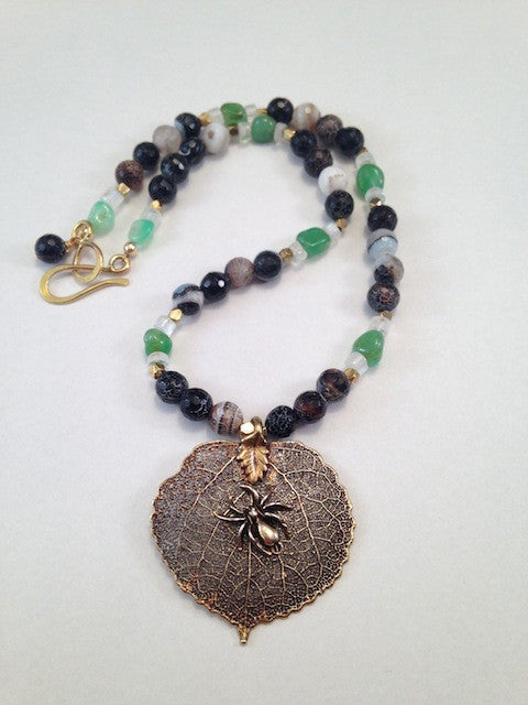 Bronze leaf with spider pendant necklace with black agate, green aventurine, and moonstone