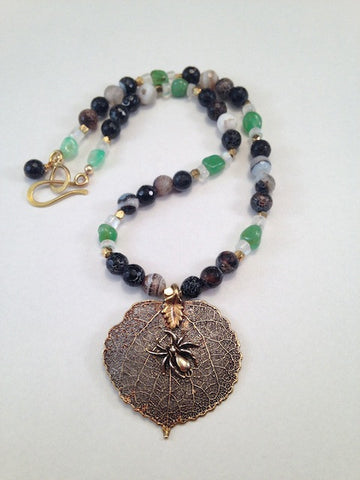 Aspen leaf with bronze spider pendant necklace