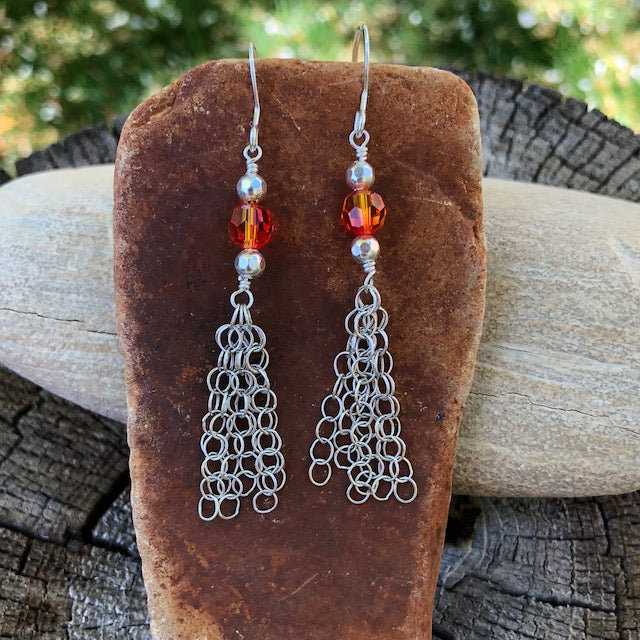 Sterling chain tassel earrings with sparkling orange Swarovski crystals
