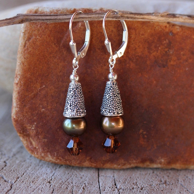 Sterling cone earrings with freshwater pearls and Swarovski crystals