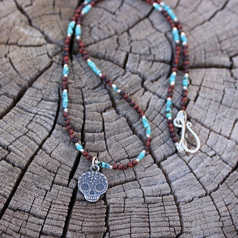 Sterling silver sugar skull pendant necklace with turquoise and red tiger eye