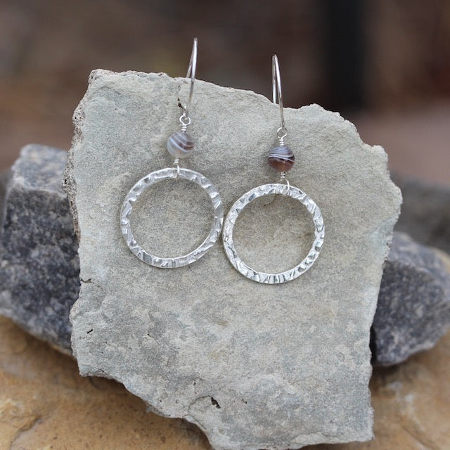 Sterling hammered circles earrings with Botswana agate beads