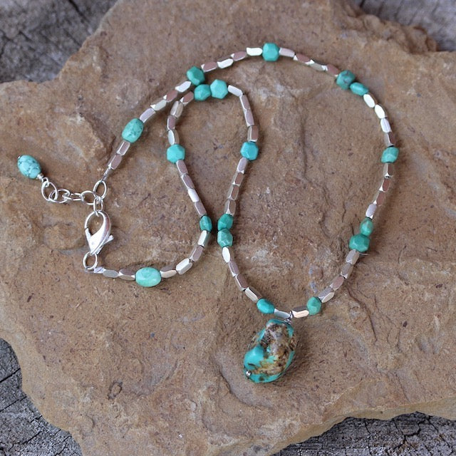 Turquoise nugget pendant necklace with Thai sterling silver beads and turquoise hexagon beads.