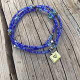 Stretch necklace or triple wrap bracelet in blue with Colorado charm