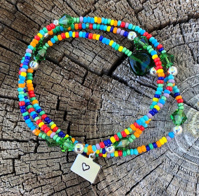 Colorful beaded stretch necklace or triple wrap bracelet with Colorado heart charm