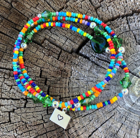 Colorful Colorado stretch necklace or triple wrap bracelet