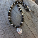 Silver sugar skull pendant necklace with black agate and moonstone