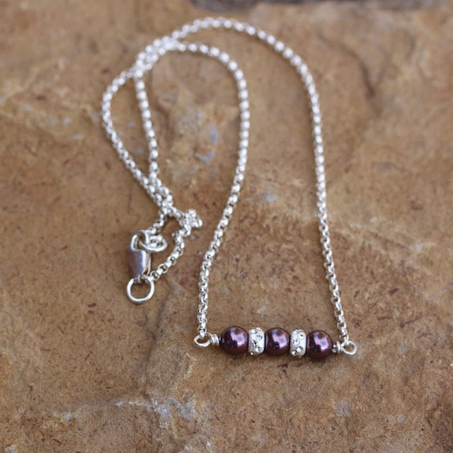 Sterling bar pendant with sparkly silver beads and Swarovski glass pearls on sterling silver chain