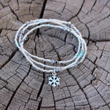 Snowflake charm stretch necklace or triple wrap bracelet with clear glass seed beads