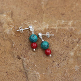 Sterling post earrings with faceted turquoise and red coral