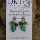 Turquoise nugget earrings with lapis and peach moonstone on sterling ear wires on display card