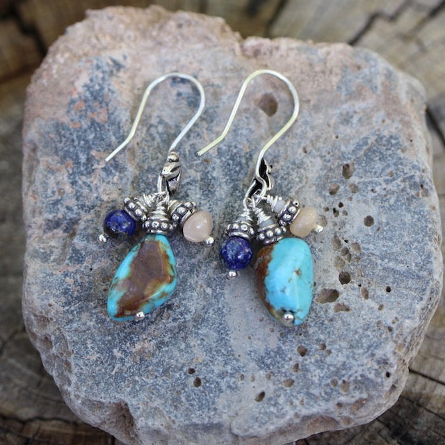 Turquoise nugget earrings with lapis and peach moonstone on sterling ear wires