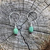 Simple sterling silver earrings with turquoise oval beads