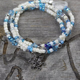 Think Snow stretch necklace or triple wrap bracelet