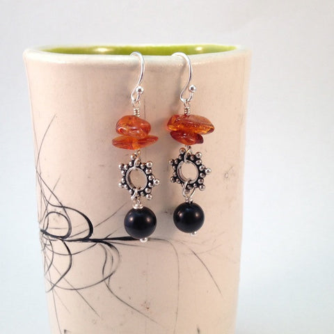 Black agate and amber with sterling silver star bead earrings
