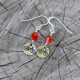 Bike charm earrings with orange Swarovski crystals and sterling ear wires