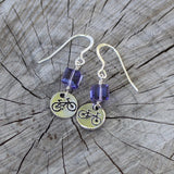 Bike charm earrings with purple Swarovski crystal cubes with sterling ear wires