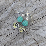 bike charm earrings with teal agate pumpkin beads and sterling ear wires