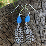 earrings with blue quartz drops and sterling chain tassels