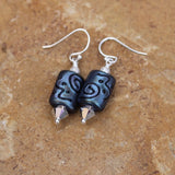 Lampwork glass beaded earrings with Swarovski crystals and sterling silver