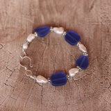 Bracelet with blue sea glass and 2 strands of freshwater pearls