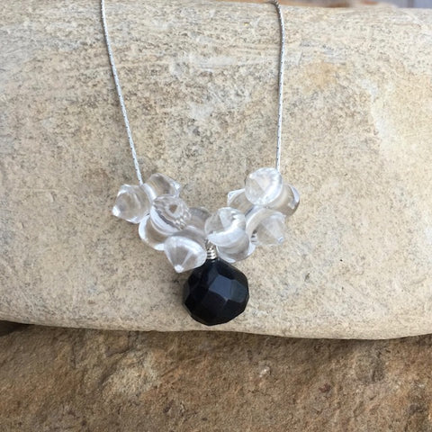 Faceted black onyx pendant necklace with clear crystals on sterling chain