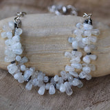 Moonstone bib necklace with sterling silver chain