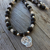 Black agate and moonstone necklace with silver sugar skull pendant