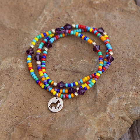 Colorful beaded stretch necklace or bracelet with bronze dog and bone charm