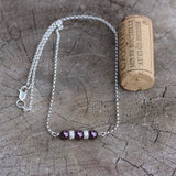 Sterling bar pendant necklace with Swarovski pearls and sterling sparkle beads on sterling chain.  Cork for size reference