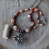 Tibetan silver cross pendant necklace with Mexican fire opal and freshwater pearls