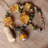 Tibetan silver and amber pendant necklace with Wyoming jade