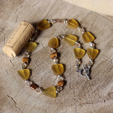 DKTDesigns recycled glass necklace in amber color with Swarovski crystals and freshwater pearls