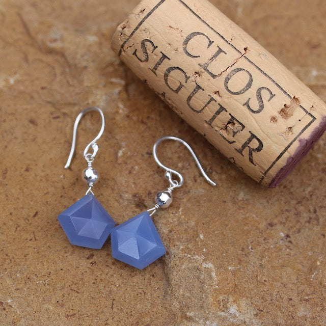 Blue chalcedony earrings on sterling ear wires with cork for size reference