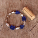 Deep blue recycled sea glass bracelet with 2 strands of freshwater pearls