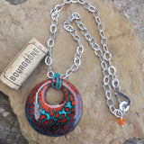 Orange and turquoise enamel pendant on sterling chain with cork for size