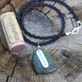"Stone pendant necklace with sterling ""Enjoy the journey"" charm"