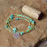 Stretch necklace or triple wrap bracelet with silver-plated tree of life charm and turquoise