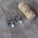Seed bead hoop earrings with moonstone drops