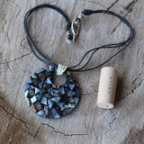 Mother of pearl mosaic pendant necklace