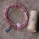 Pink stretch triple wrap bracelet or necklace with sterling silver dream charm