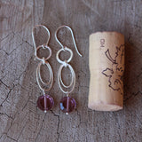Sterling chain earrings with purple crystals