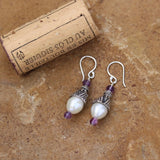 Sterling cone earrings with amethyst and white freshwater pearls