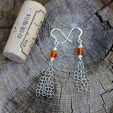 Sterling chain tassel earrings with orange Swarovski crystals and cork for size reference