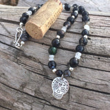 Silver sugar skull pendant necklace with black agate and moonstone with cork for size
