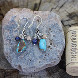 Turquoise nugget earrings with lapis and peach moonstone on sterling ear wires with cork for size reference