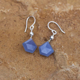 Faceted blue chalcedony pentagon earrings on sterling silver ear wires